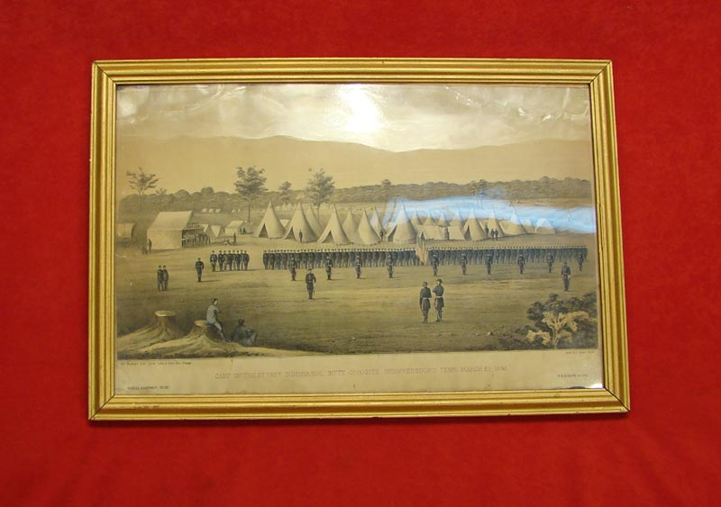 Framed Hand Tinted Lithograph of the 88th Encamped at Sontes River